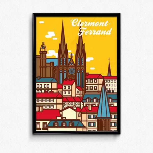 affiche Clermont-Ferrand cathédrale notre-dame