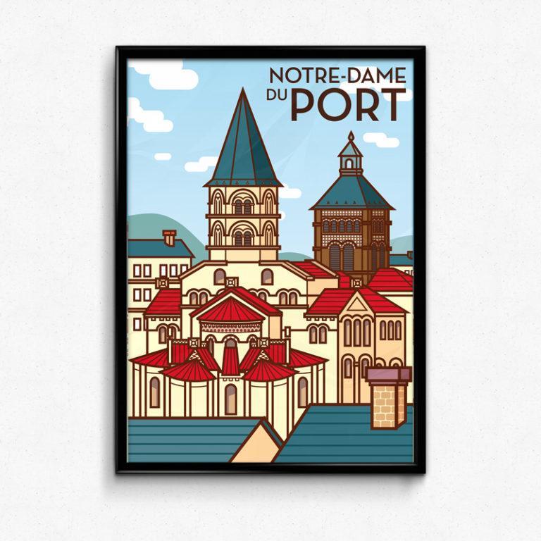 affiche poster Notre Dame du Port à Clermont-Ferrand (auvergne)