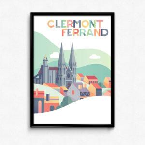 Poster Clermont-Ferrand (63) illustration enfant couleurs pastels