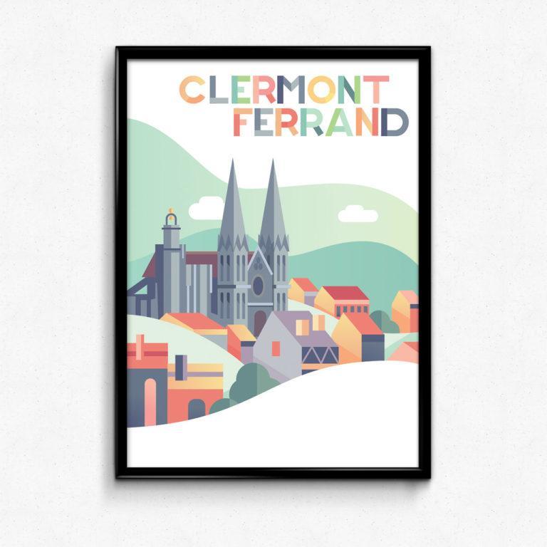 Poster Clermont-Ferrand (63) illustration enfant couleurs pastels