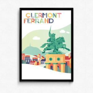 affiche pop Clermont-Ferrand statue de Vercingétorix place de Jaude